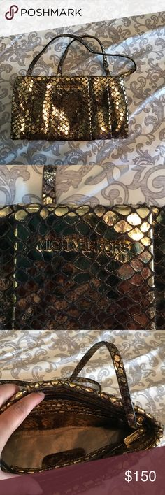 Michael Kors purse Authentic MK purse in gold snake skin embossed design. Great for an evening out. Michael Kors Bags Shoulder Bags