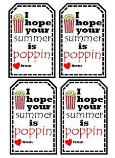 "Send students off to have a ""Poppin Summer"" with my ""Poppin Summer Tags""! Put them on a bag of popcorn as a fun end of the school year treat! Color and Black & White tags are available. End Of School Year, End Of Year, Teacher Pay Teachers, Teacher Gifts, Teacher Stuff, Beach Treats, Girls Camp, Student Gifts, Teacher Newsletter"