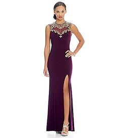 Betsy and Adam Beaded Open Back Gown #Dillards