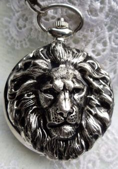 Lion head pocket watch  men's King of the by Charsfavoritethings, $50.00