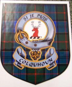 COLQUHOUN Clan Badge Clan COLQUHOUN Tartan Sticker