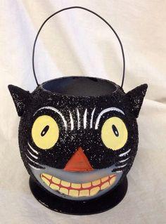 "Halloween Black Cat Molded Jack-O-Lantern GLITTER/Bling Vintage Style NEW 5""x6"""