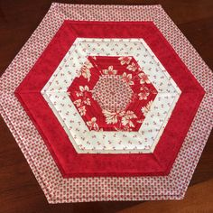 Red & Creamy White Quilted Hexagon Table Runner or by seaquilt