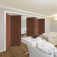 Thrufold Messina Walnut Flush 3+2 Folding Door - Prefinished - Lifestyle Image.    #foldingdoors #walnutfoldingdoors