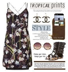 """""""Hot Tropics: 24/06/16 (TFS290616)"""" by pinky-chocolatte ❤ liked on Polyvore featuring Miss Selfridge, Chanel, Laurence Dacade, Kjøre Project, Linda Farrow and Industrie"""