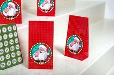 DIY Adventskalender*24 Tüten & 24 Aufkleber*Weihnachtsmann*Papier*
