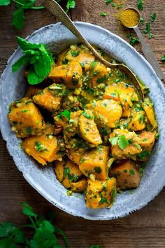 Sweet Potatoes with Coconut Curry and Mint. Healthy Paleo and Gluten-free. http://healthyseasonalrecipes.com by Katie Webster