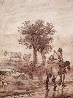 "OSTADE (van) Isaac,1644-49 - Paysage avec Voyageurs (drawing, dessin, disegno-Custodia) - Detail -m - TAGS/ details détail détails detalles ""dessins 17e"" ""17th-century drawings"" ""dessins hollandais"" ""Dutch drawings"" ""Dutch painters"" ""peintres hollandais"" Paris France Holland Hollande animal animaux animals man men hommes paysan dog pet chien Isaack tree trees nature arbres chevaux cheval horse traveller ox boeufs boeuf oxes agriculture countryside campagne landscape Isaack road chemin camino"