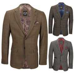 Mens Fitted 2 Button Herringbone Tweed Light Grey Blazer Jacket Navy Velvet Trim