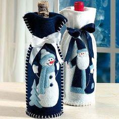 ideas de botellas de vino decoradas para regalar en navidad 05