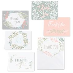 Handwritten messages mean so much to those who receive them! This Greenery Thank You Set is versatile and great to have on hand. Thank You Note Cards, All Holidays, Personalized Stationery, Face Cleanser, Wedding Thank You, Luxury Gifts, White Envelopes, Eyeshadow Makeup, Baby Clothes Shops