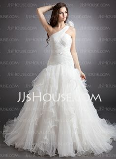 Wedding Dresses - $256.99 - Ball-Gown One-Shoulder Chapel Train Organza Wedding Dress With Ruffle Flower(s) (002000622) http://jjshouse.com/Ball-Gown-One-Shoulder-Chapel-Train-Organza-Wedding-Dress-With-Ruffle-Flower-S-002000622-g622