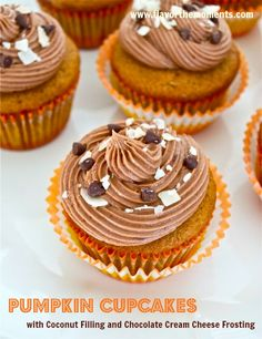 Pumpkin Cupcakes with Coconut Filling and Chocolate Cream Cheese Frosting