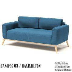 Campos 3 sz. kanapé kék