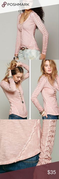 Free People Shell Stitch Henley Top Free People distressed wash, blush pink long sleeve henley top.  Features beautiful crochet stitch details on sleeves.  100% cotton.  Barely worn. Free People Tops
