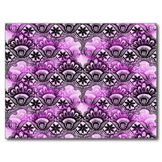 Cool Vibrant Distressed Purple Lace Damask Pattern Postcards SOLD on Zazzle