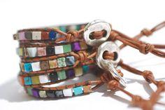 Leather wrap bracelet Surprise leather by JustWanderlustShop, $24.00