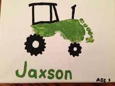 Toddler footprint into a tractor