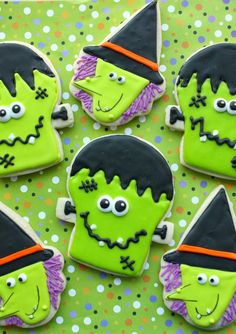 Frankenstein and Witch Cookies by Munchkin Munchies.