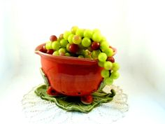 Red Ceramic Berry Bowl on Leaf Tray READY TO by BlueSkyPotteryCO, $65.00