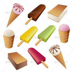 Realistic Graphic DOWNLOAD (.ai, .psd) :: http://hardcast.de/pinterest-itmid-1000473242i.html ... Set of ice cream ...  Flavored Ice, Frozen Yogurt, Sweet Food, candy, chocolate, collection, dairy product, dessert, food, ice cream, ice cream cone, ice cream sundae, illustration, set, sorbet, stick, vanilla, vector  ... Realistic Photo Graphic Print Obejct Business Web Elements Illustration Design Templates ... DOWNLOAD :: http://hardcast.de/pinterest-itmid-1000473242i.html