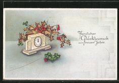 tolle AK Mistelzweige, Klee und Marienkäfer an einer Uhr, Neujahr 1932 in Sammeln & Seltenes, Ansichtskarten, Motive | eBay