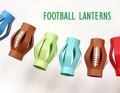 Football Lanterns More ideas on http://www.babble.com/crafts-activities/10-fantastic-super-bowl-party-diys-and-printables/?cmp=SMC%7Cbbl%7Csoc%7CPNT%7CMain%7CInHouse%7C010113%7C%7C%7CfamE%7CSocial%7C%7C