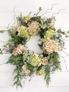 Spring Wreath, Pink and Green Hydrangea Wreath, Easter Wreath, Front Door Decor, Wreaths For Spring Spring Door Wreaths, Easter Wreaths, Summer Wreath, Holiday Wreaths, Wreath Fall, Green Hydrangea, Hydrangea Wreath, Greenery Wreath, Floral Wreaths