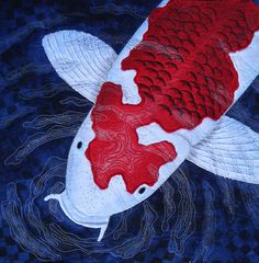 """""""Curiosity"""" by Diane Marie Chaudiere, posted at Contemporary Quilt Art.  Koi fish quilt."""