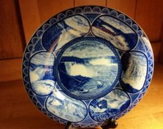 """Vintage Souvenir of Niagara Falls 10"""" Flow Blue Transferware Plate by R and M Co., The Rowland and Marsellus Co. Staffordshire, England 1893"""