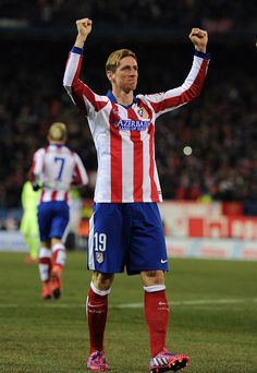 Fernando Torres of Club Atletico de Madrid celebrates after scoring his team's opening goal during the Copa del Rey Quarter Final Second Leg match between Club Atletico de Madrid and FC Barcelona at Vicente Calderon Stadium on January 28, 2015 in Madrid, Spain.