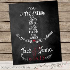 You Be the Anchor Wedding Wall Art - Wall Decor, Quote, Inspirational Art, Poster, Print, Wedding Gift, Shower Gift on Etsy, $7.00
