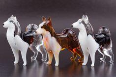 Siberian Husky Set of 3pc Art Lampwork Blown Glass Dog Figurines | eBay