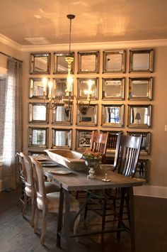 Parade of Homes 2013 in Lubbock, TX. June 2013. Love love love this wall of mirrors in this dining space.