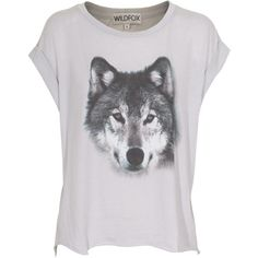 WILDFOX Wolf Smoke Oversize T-shirt with print ($125) ❤ liked on Polyvore featuring tops, t-shirts, shirts, blusas, tee-shirt, oversized shirts, sleeve t shirt, grey shirt and print t shirts