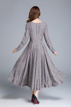 53ad85b63325 Long linen dress linen dress women party dress spring Holiday Dresses