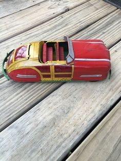 ANTIQUE 1940'S WYANDOTTE WOODY CONVERTIBLE PRESSED STEEL TIN CAR SUPER NICE #Wyandotte Woody, 1940s, Convertible, Tin, Steel, Cars, Antiques, Vehicles, Ebay
