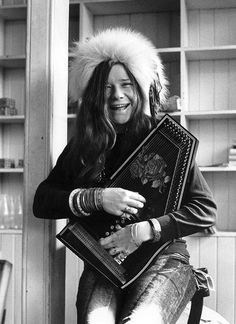 janis joplin with autoharp, by john cooke, 1969
