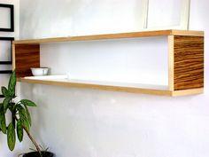 Modern Wall Decor for Home or Office White Maple Yellow Brown Zebra Stripes Modular Book Shelf Floating. $199.00, via Etsy.