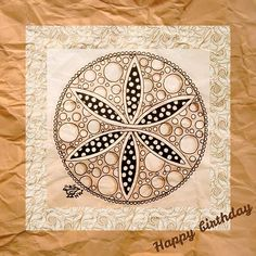 """""""Made a birthdaycard of one of my drawings.... I hope they like it! #penart #penandink #zendoodleart #zendoodle #zentangle #zentangleart #patterns #mandala #mandalamaze #birthday #birthdaycard #happybirthday #draw #drawing"""" Photo taken by @nikkiwie on Instagram, pinned via the InstaPin iOS App! http://www.instapinapp.com (11/12/2015)"""