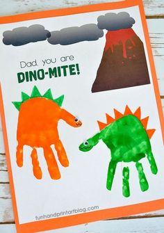 """Dad, You Are DINO-MITE! Printable Dinosaur Handprint Card Idea - - Use this free printable volcano background template to create a cute DINO-mite Dad Card. Make with a dinosaur handprint and the Father's Day saying, """"Dad, You Are DINO-MITE! Dad Crafts, Daycare Crafts, Preschool Crafts, Fathers Day Art, Fathers Day Crafts, Toddler Fathers Day Gifts, Mothers Day Crafts For Kids, Daddy Gifts, Grandpa Gifts"""