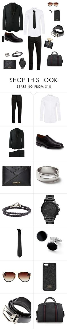 """""""Chic day, chic date"""" by sophiesw ❤ liked on Polyvore featuring Yves Saint Laurent, Topman, Givenchy, Allen Edmonds, Balmain, Tod's, FOSSIL, Versace, Blue Nile and Dita"""