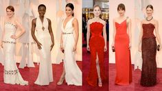 Best dressed celebrities at the Oscars; Marion Cotillard in a Christian Dior, Dakota Johnson in Saint-Laurent, Rosamund Pike in Givenchy, Julianne Moore wearing Chanel , Lupita Nyong'o in Calvin Klein.
