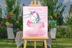 Banner Backdrop, Birthday Backdrop, Unicorn Printables, Unicorn Birthday Invitations, Welcome Poster, Personalized Banners, 3rd Birthday Parties, Unicorn Party, Message Board