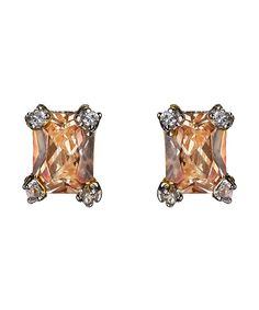 Rectangle CZ Champagne Post Earrings