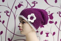 Long Beanie with flower    colors: berry and white