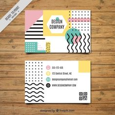 Business card with geometry design Free Vector