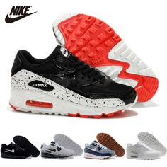 best loved d21aa a2254 2015 Nike Air Max 90 Star Series Black White Red Couple Style Mens Nike  Running Shoes On Sale