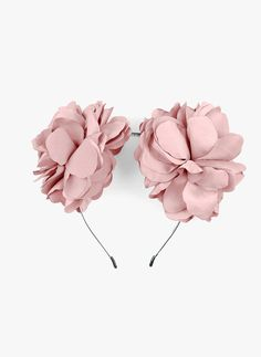 Amour Bows Signature Large Double Silk Floral Headband in Dusty Pink