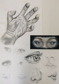 Investigating facial features and hands - Advanced Higher Art